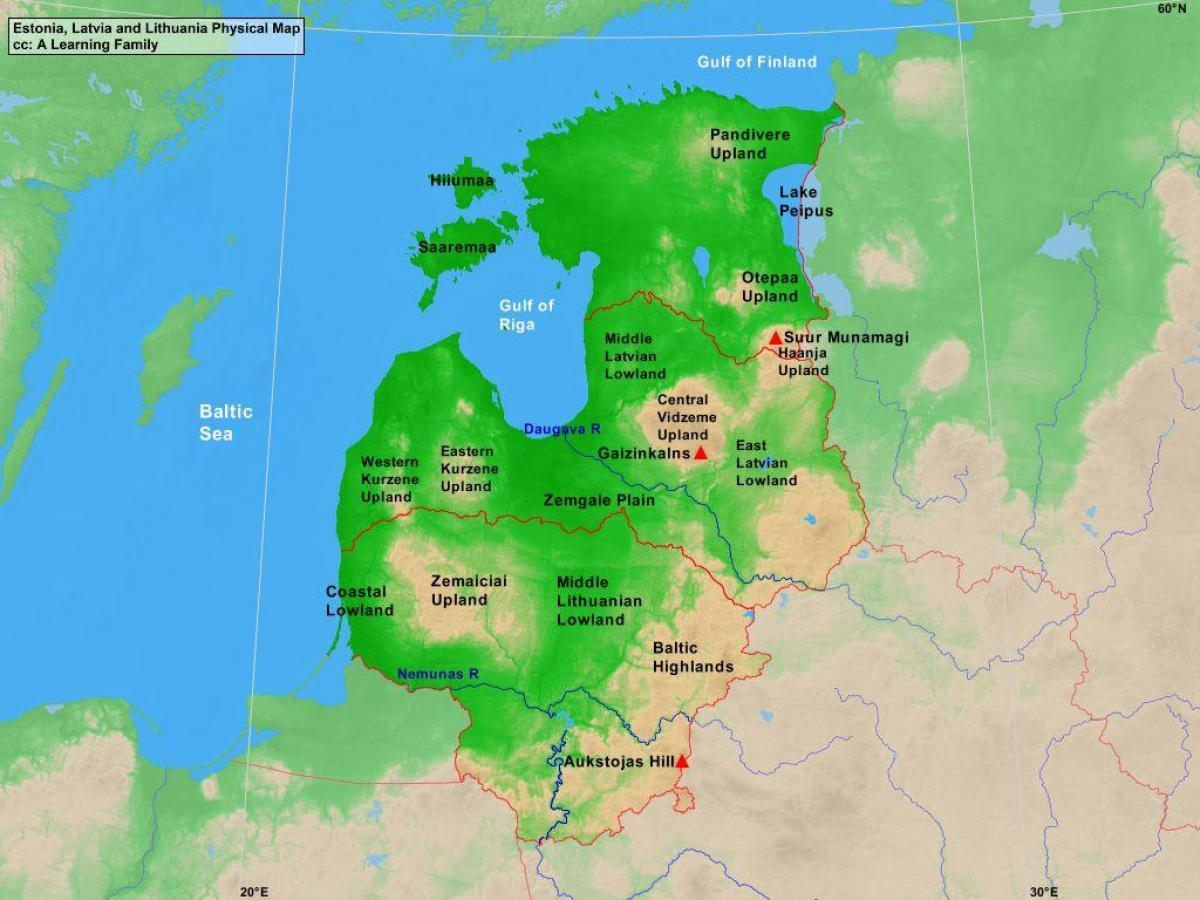 Estonia physical map - Map of Estonia physical (Northern Europe ...